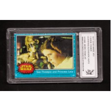 CARRIE FISHER 1977 SIGNED STAR WARS TRADING CARD #51 - DJL # 911666
