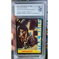 PETER MAYHEW 1977 SIGNED STAR WARS TRADING CARD #9 - DJL # 911666
