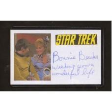 BONNIE BECKER SIGNED 3X5 INDEX CARD  - STAR TREK