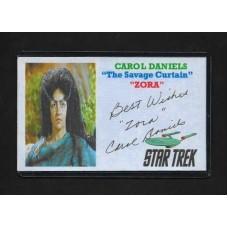 CAROL DANIELS SIGNED 3X5 INDEX CARD - ZORA - STAR TREK