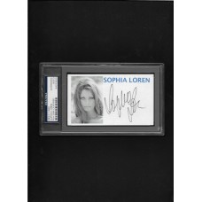 SOPHIA LOREN - AUTOGRAPH INDEX CARD - PSA/DNA - RARE !!