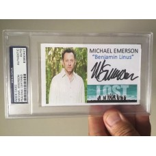 MICHAEL EMERSON  - SIGNED 3x5 INDEX CARD - L O S T  - PSA/DNA