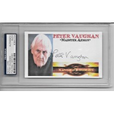 PETER VAUGHAN - SIGNED 3x5 INDEX CARD - GAME OF THRONES -  PSA/DNA