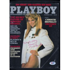 CHRISTIE BRINKLEY - SIGNED PLAYBOY NOV 1984 MAGAZINE COVER - PSA/DNA AD55994
