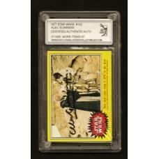 ALEC GUINNESS 1977 SIGNED STAR WARS TRADING CARD #133 - COA - DJL