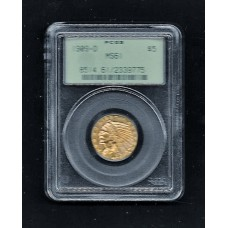1909 D - $5.00 GOLD EAGLE - MS 61 PCGS