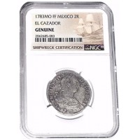 ITEM #: 1783 MO FF Mexico 2 REALES El Cazador Shipwreck Coin - NGC Certified.Excellent Condition.With Story Card