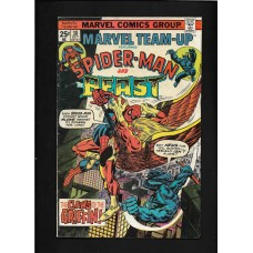 MARVEL TEAM UP 38 - SPIDERMAN & BEAST - THE CLAWS OF THE GRIFFIN !! - VG+ 4.5 - RARE !!